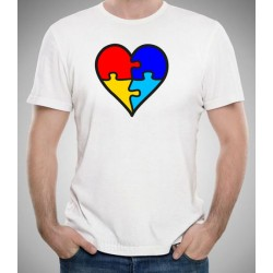 Camiseta AUTISMO barata 10€ corazón puzzle