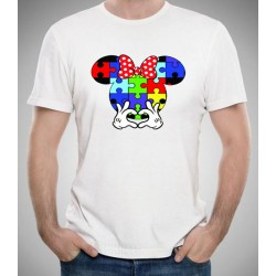 Camiseta AUTISMO barata 10€ Minnie puzzle de colores