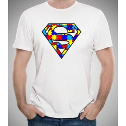 Camiseta AUTISMO barata 10€ SUPERMAN puzzle de colores