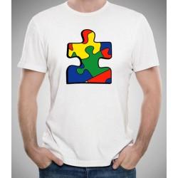 Camiseta AUTISMO barata 10€ Pieza puzzle de colores