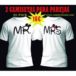 Camisetas para parejas MR y MRS Disney