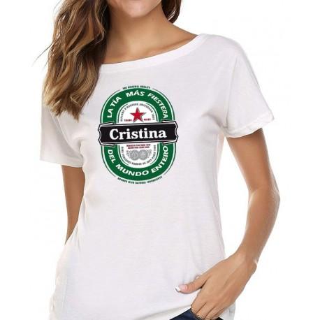 Camiseta chica personalizada logo cerveza chica fiestera