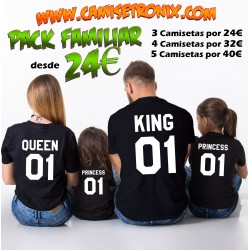 Pack camisetas familia KING QUEEN PRINCE PRNCESS personalizada desde 24€