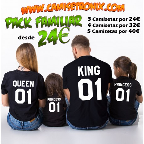 Pack camisetas familia KING QUEEN PRINCE PRNCESS personalizada desde 24€