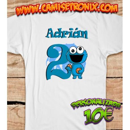 Camiseta TRIKI personalizada El Monstruo de las Galletas para cumpleaños 10€