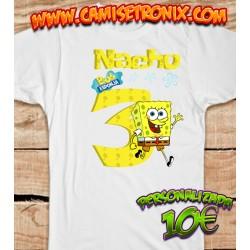 Camiseta BOB ESPONJA personalizada para cumpleaños 10€