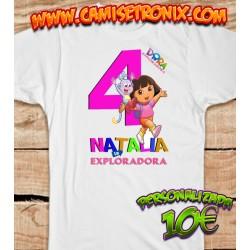 Camiseta DORA LA EXPLORADORA personalizada para cumpleaños 10€