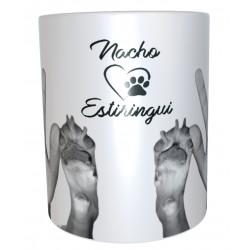 Taza personalizada con las huellas de tu perro y las tuyas escaneadas