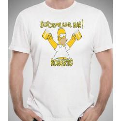 Camiseta Homer Simpsons Buscadme en el BAR personalizada 9,95€
