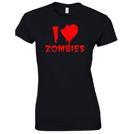 Camiseta para chica I Love Zombies