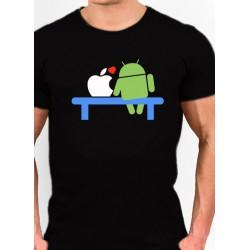 Camiseta Friki Android enamorado manzana